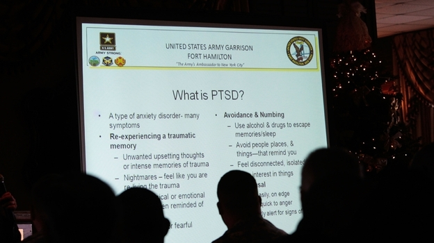 The U.S. military is trying to encourage service members and veterans to seek treatment for post-traumatic stress disorder. The military is also seeking to remove any sense of stigma for receiving treatment. Here, military personnel attend a presentation on PTSD at Fort Hamilton Army Garrison in Brooklyn, N.Y., in 2009. (Getty Images)