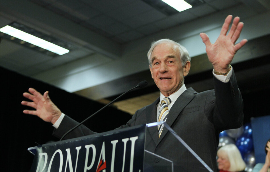 Republican presidential candidate Rep. Ron Paul, R-Texas, in February.
