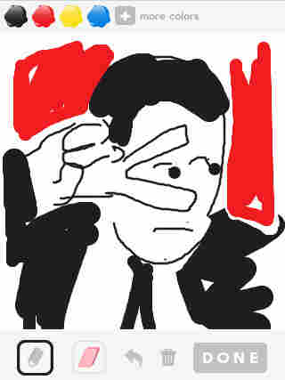 "New Yorker cartoonist Matthew Diffee tries his hand at illustrating the word ""Travolta"" using the Draw Something app."
