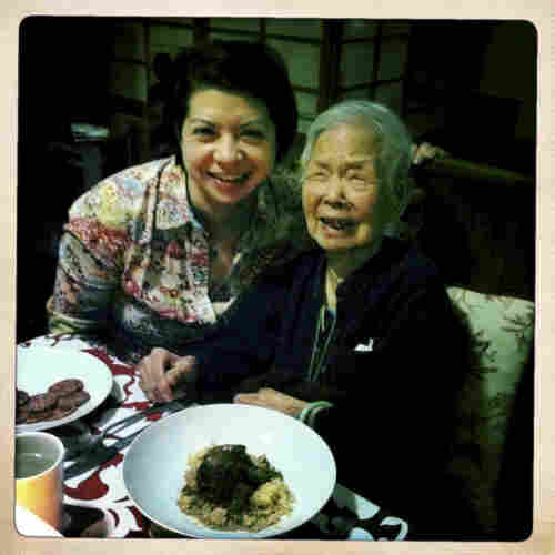 """""""This is me and my grandma, May Lee, who is turning 105 in June. I live with her and my aunt so I can help take care of her. I also have a blog with a friend all about our grandmas!"""""""
