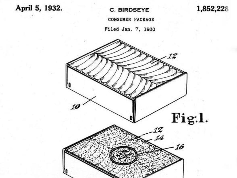 Birdseye packed and froze his fish fillets in the patented cartons he developed (U.S. Patent and Trademark Office)