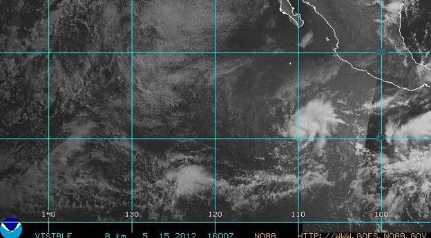 Aletta spins off the Mexican coast.