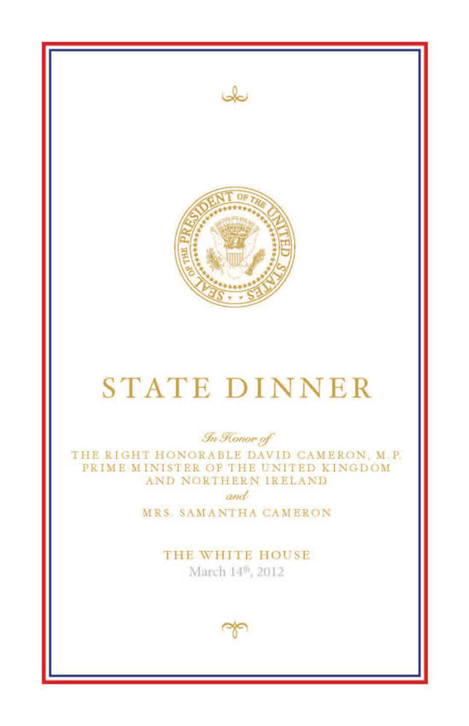 White House State Dinner with David Cameron