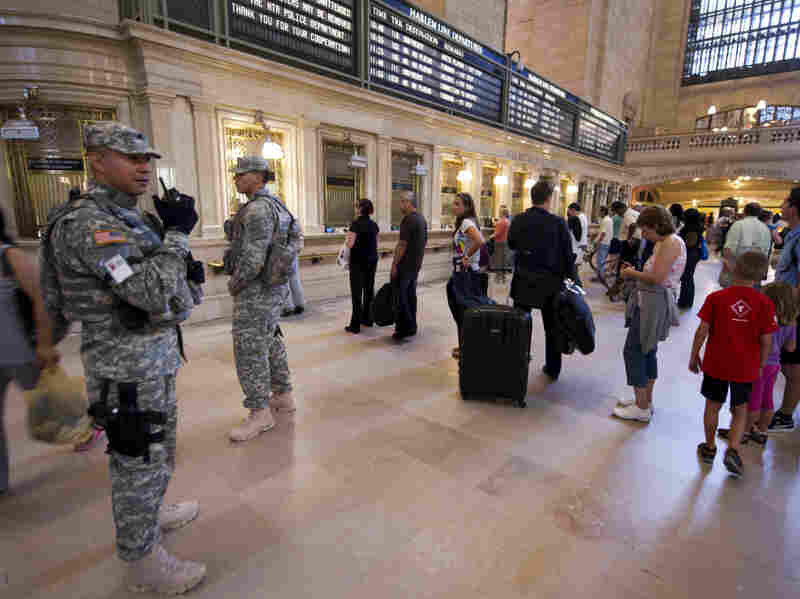 Army National Guard officers patrol Grand Central Station in New York on Sept. 10, 2011, the day before the 10th anniversary of the Sept. 11 attacks.