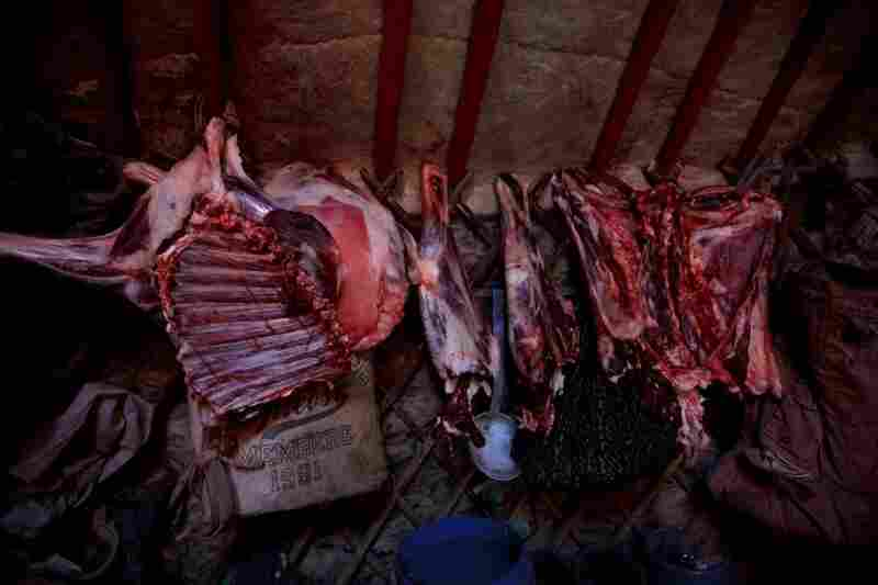 A freshly slaughtered sheep carcass hangs inside the family's ger, or yurt, to dry. Meat — usually mutton — and noodles are the main foods for most Mongolians.
