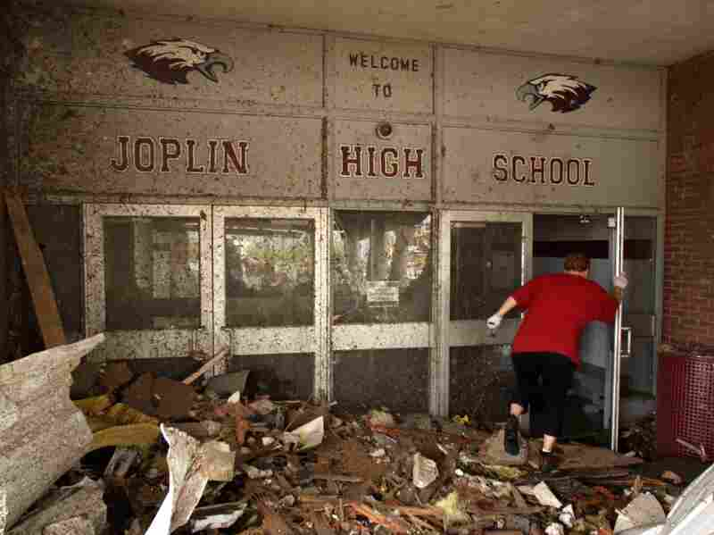 The main entrance of Joplin High School was severely damaged in a May 2011 tornado.