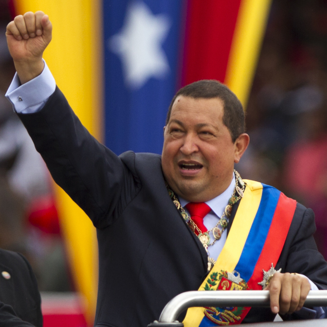 In Caracas, Venezuelan President Hugo Chavez attends a military parade to commemorate the anniversary of a 1992 failed coup attempt he led as a lieutenant colonel in February 2012.