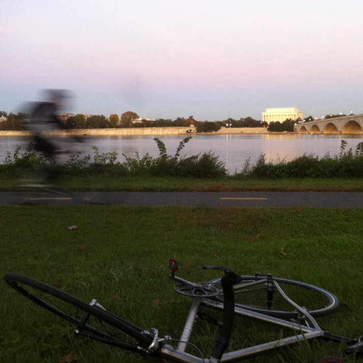Just because you're biking to work doesn't mean it can't be a nice ride -- and you also don't have to ride straight home. This photo was taken on an afternoon along the Potomac River, outside Washington, D.C.
