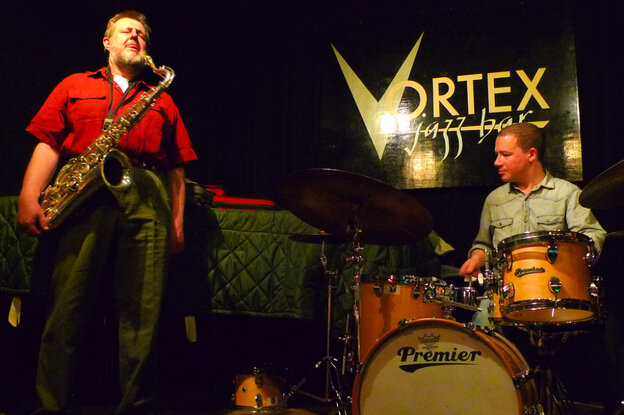 Saxophonist Paul Dunmall and drummer Mark Sanders perform (with guitarist Hasse Poulsen, off camera) at The Vortex in London.