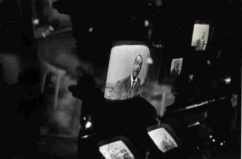 Duke Ellington on Several Television Monitors at Station KQED, San Francisco, California, 1960