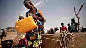 A woman refills her bucket from a well in the south of Mauritania. The Sahel region, south of the Sahara, is facing a third season of drought.