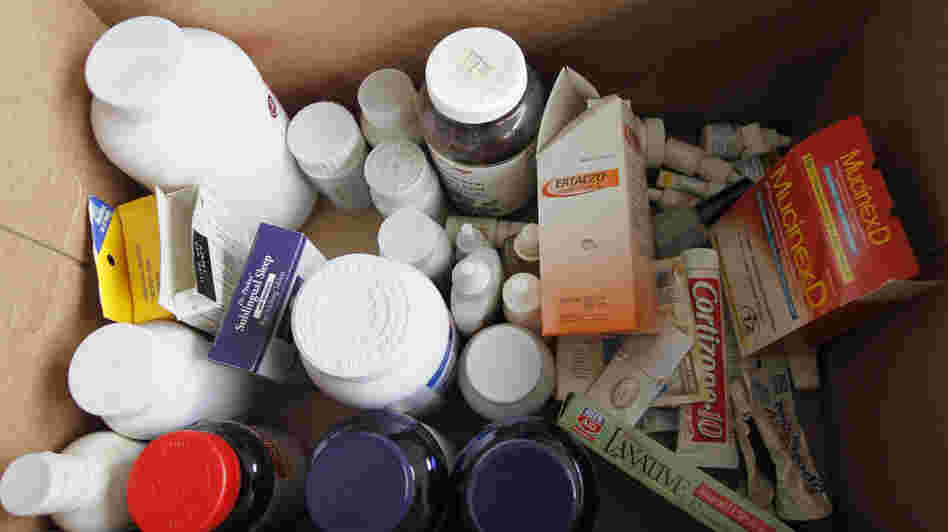 Surplus and expired drugs collected during the DEA's fourth National Prescription Drug Take-Back Day. New research suggests it might be better for the environment to dispose of drugs in household trash.