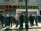 The Dubrow's Cafeteria on Eastern Parkway in New York, circa 1945. Van and Shirley Harris were regulars at the restaurant, along with a colorful cast of characters.