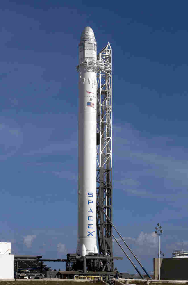 A SpaceX rocket waits to be launched at Cape Canaveral, Fla., in March. If all goes as planned, the private company's rocket will be the first commercial spacecraft to visit the International Space Station.