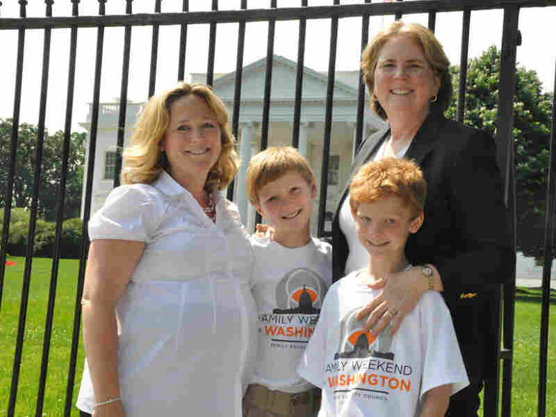 Family Equality Council Executive Director Jennifer Chrisler (left), her partner Cheryl Jacques and their sons Tom and Tim Jacques visited Washington on Thursday to ask Congress for equal rights for same-sex families.