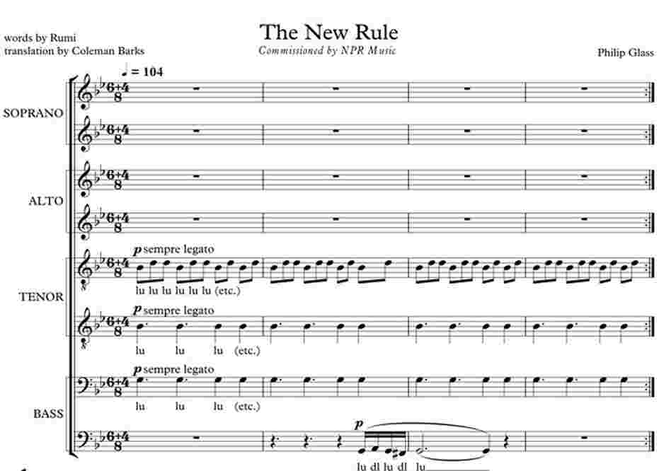 The first measures of Philip Glass' 'The New Rule,' commissioned by NPR Music.