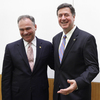 Former Virginia Govs. Tim Kaine (left) and George Allen after a Senate debate in Richmond, Va., on Dec.. 7, 2011.