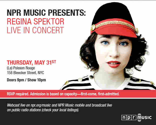 invitation to see Regina Spektor in concert