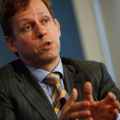 PayPal co-founder Peter Thiel, who has donated more than $2.5 million to a superPAC backing GOP presidential candidate Ron Paul, speaks at the National Press Club in Washington, D.C., in October.
