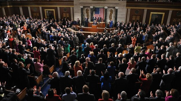 Congress, shown gathered for President Obama's State of the Union in January, is speaking at about a grade level lower now than in 2005, according to the Sunlight Foundation.