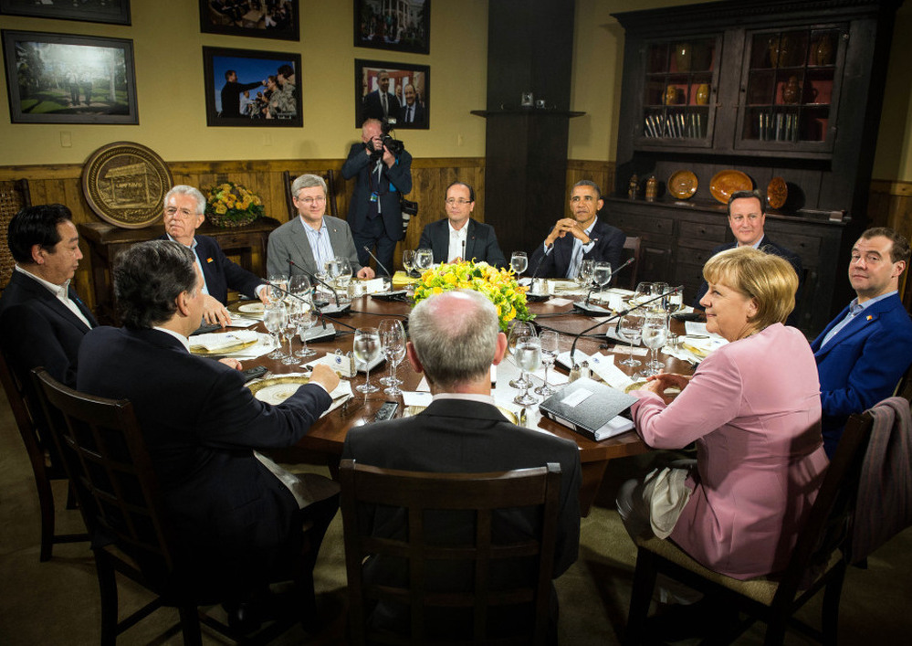 President Obama speaks with other G-8 leaders at Camp David in Maryland during the summit on Friday.