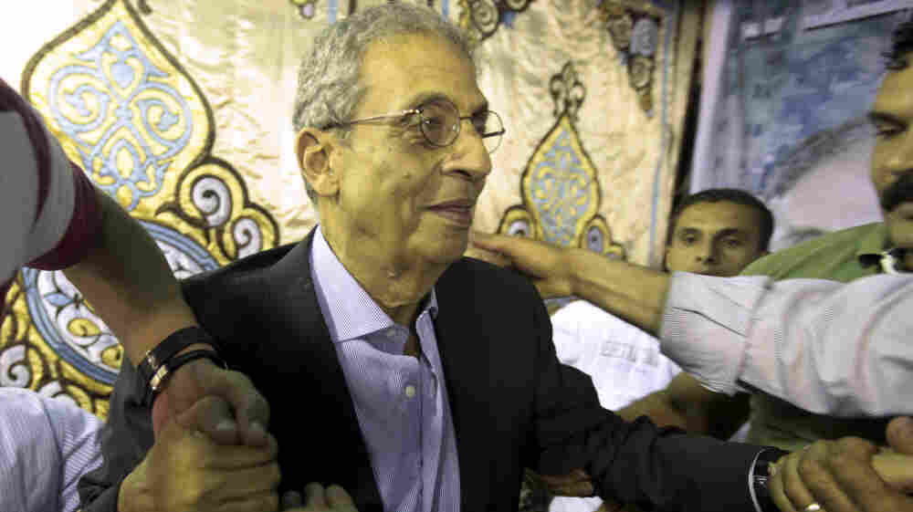 Amr Moussa, a prominent figure during the rule of former President Hosni Mubarak, is the front-runner as Egyptians prepare to vote for president next week. He is shown here during a campaign event on the outskirts of Cairo on Wednesday.