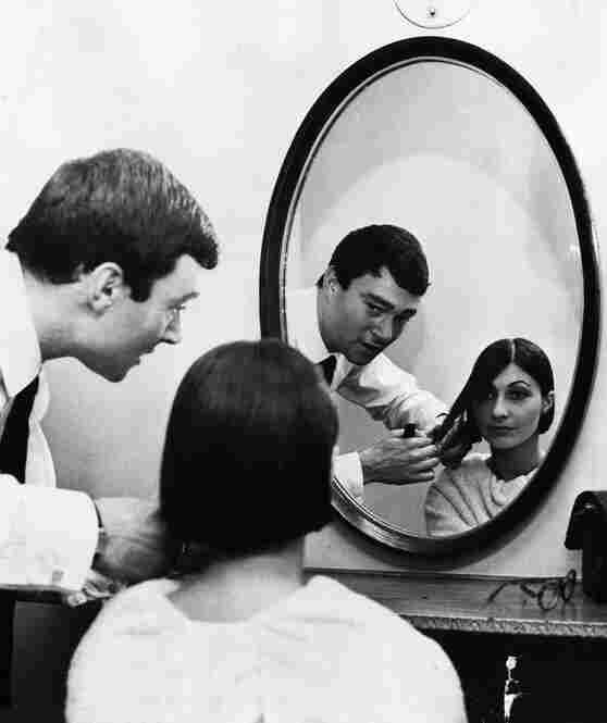Vidal Sassoon and French model-cum-fashion designer Emmanuelle Khanh. Over his 69-year career, Sassoon became an internationally known hairstylist to the stars.