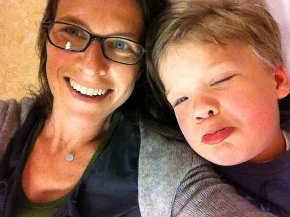 Deborah Kogan in the hospital last May with her son Leo, who had Kawasaki disease.