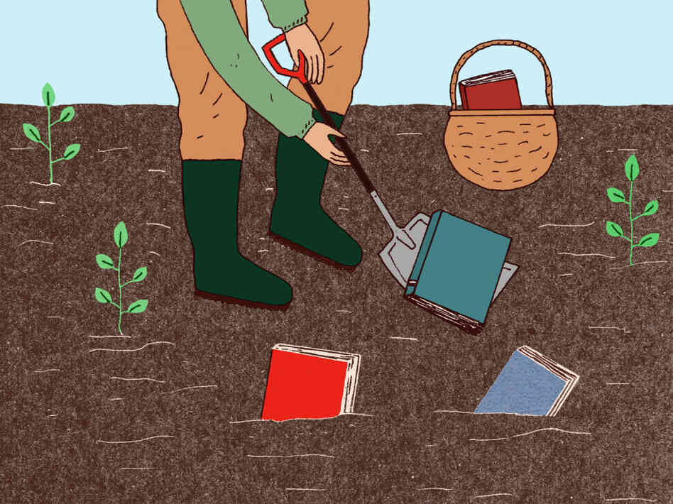 Illustration: Digging books up from the garden.
