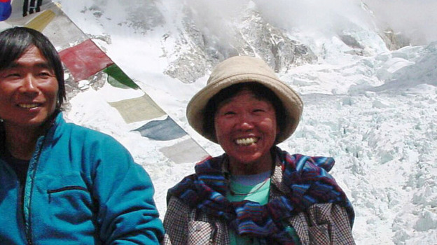Tamae Watanabe (right) of Japan in 2002 at a base camp on the foot of Mount Everest in Nepal. She became the oldest woman to summit during that climb. She did it again Saturday morning at age 73. (AP)