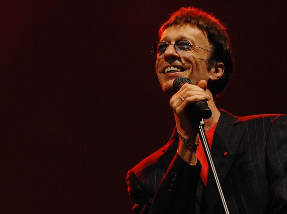 Robin Gibb performs at the Dubai International Jazz Festival in 2008.