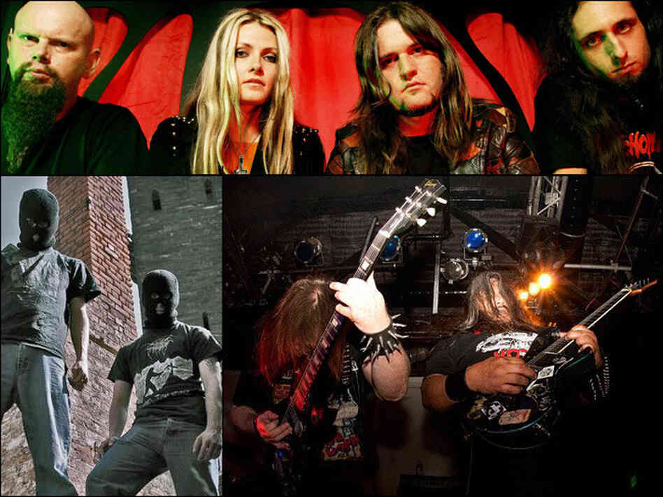 Clockwise from top left: Electric Wizard, Autopsy and Dragged Into Sunlight.