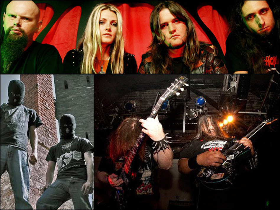 Clockwise from top left: Electric Wizard, Autopsy and Dragged Into Sunlight. (Courtesy of the artists)
