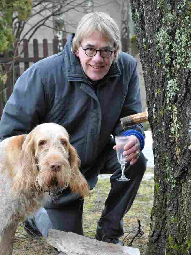 Chef Martin Ritins and his dog, Pablo, tap the sap