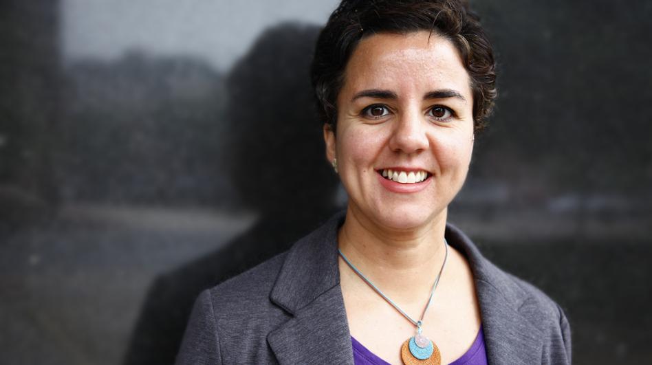 Carmen Gimenez Smith visits NPR headquarters in Washington on Monday. (NPR)