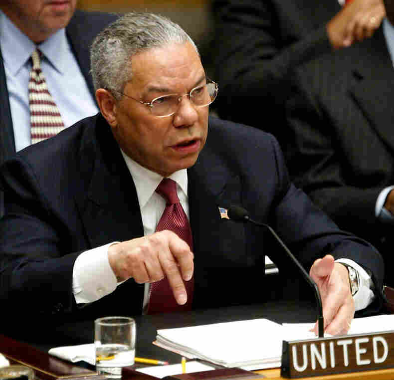 U.S. Secretary of State Colin Powell addresses the U.N. Security Council in New York on Feb. 5, 2003. He presented evidence of Iraq's weapons of mass destruction — that turned out not to exist.