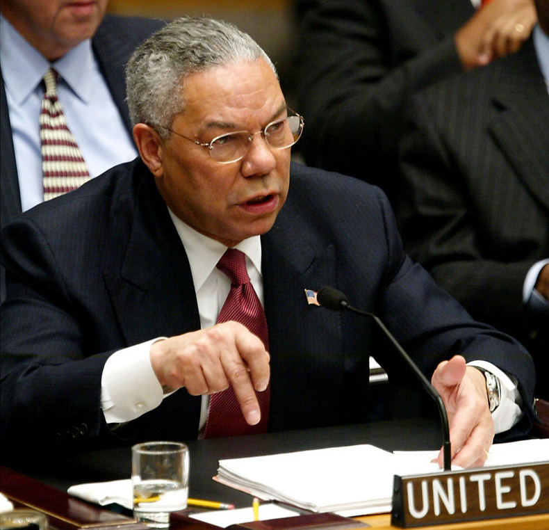 U.S. Secretary of State Colin Powell addresses the U.N. Security Council in New York on Feb. 5, 2003. He presented evidence of Iraq's weapons of mass destruction -- that turned out not to exist.