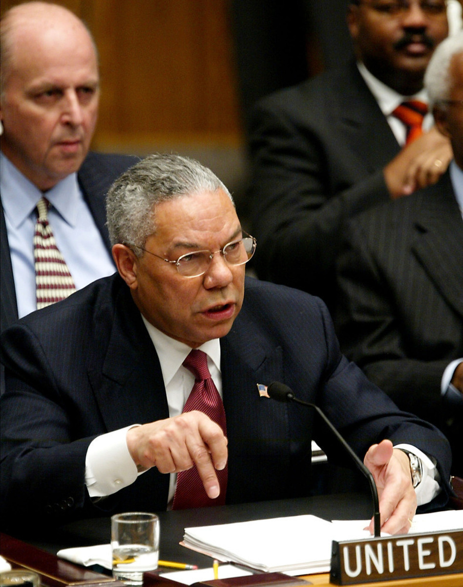 U.S. Secretary of State Colin Powell addresses the U.N. Security Council in New York on Feb. 5, 2003. He presented evidence of Iraq's weapons of mass destruction — that turned out not to exist. (Getty Images)