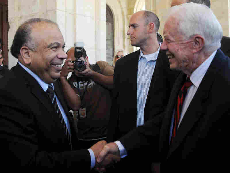 In Cairo on Monday, Egyptian Parliament Speaker Saad al-Katatni (left) met with former U.S. President Jimmy Carter.