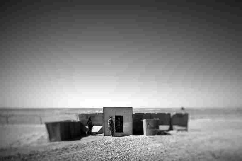 An Afghan army checkpoint sits on the edge of the Sistani Desert. It serves as an entry point to the farm fields of Marjah, in southern Afghanistan.