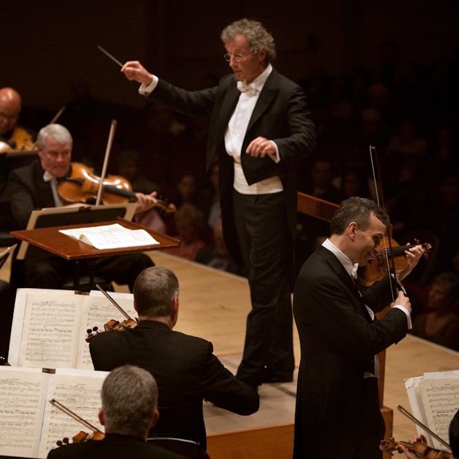 Violinist Gil Shaham performs Brahm's Violin Concerto with Maestro Franz Welser-Most and the Cleveland Orchestra at Carnegie Hall on May 23, 2012.