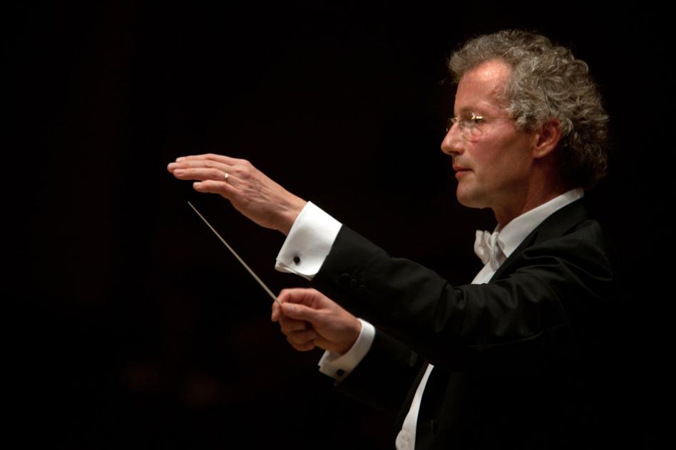 The Cleveland Orchestra's music director, Franz Welser-Möst, caught in action. (Melanie Burford for NPR)
