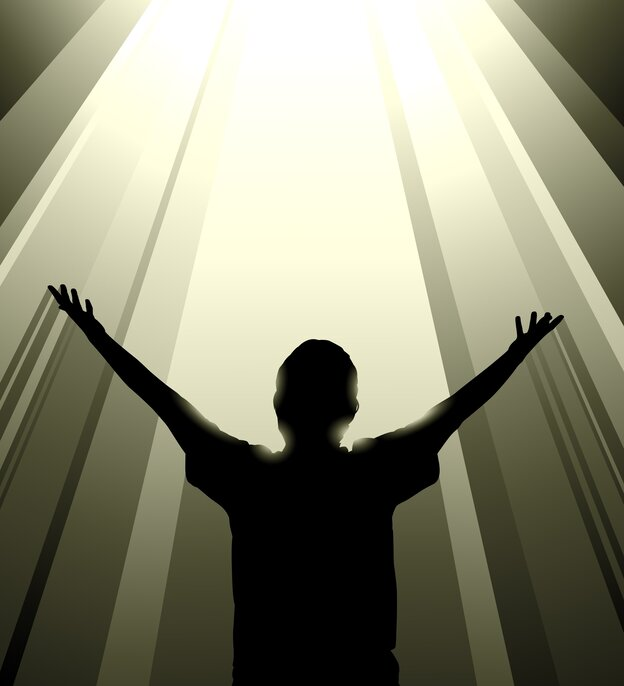 Graphic: a boy with arms outstretched to a radiant light.