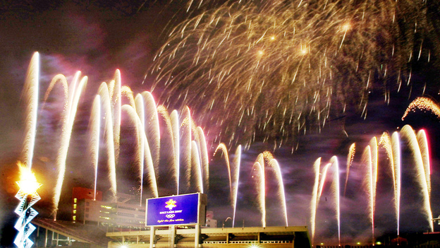 Fireworks fill the sky after the Olympic cauldron was lit on Feb. 8, 2003, marking the one year anniversary of the 2002 Winter Games at the opening and closing ceremony venue in Salt Lake City, the last American city to host the Olympics. (AP)