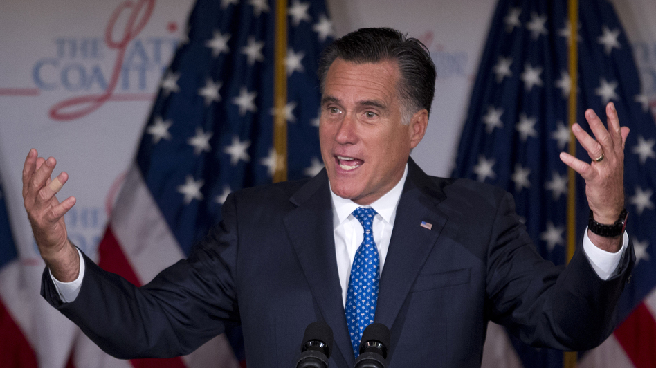 Mitt Romney speaks at the Latino Coalition annual economic summit  Wednesday in Washington, D.C. (Evan Vucci/AP)