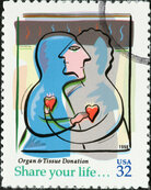 A U.S. postage stamp from 1998 promotes donations of organs and tissue for transplant.