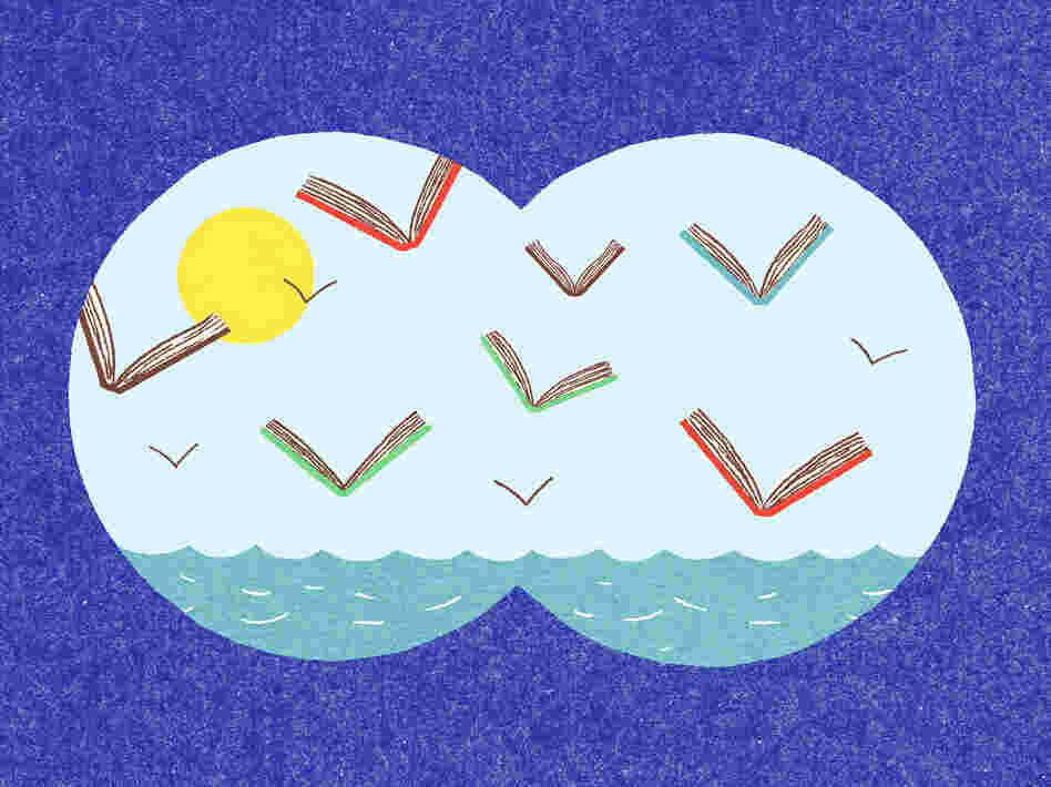 Illustration: Flying books on the horizon as viewed through binoculars.