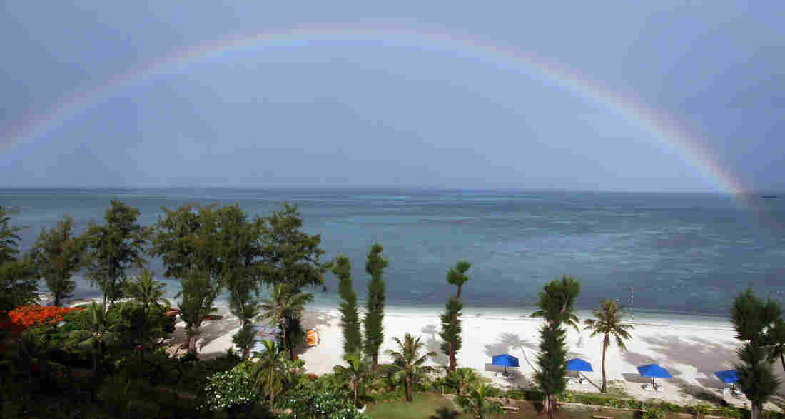 A rainbow over the sea in Saipan, Northern Mariana Islands.