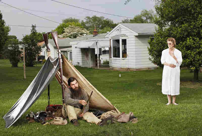 Jerry Hornbaker in Helen Chapman's backyard on the Gettysburg battlefield.