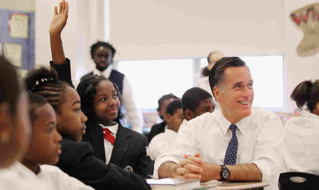 Republican presidential candidate Mitt Romney participates in a 6th-grade language arts class with Salina Beattie and other students at Universal Bluford Charter School on Thursday in Philadelphia.